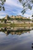 Panorama Opinião e fortaleza da cidade Chinon france fotografia de stock