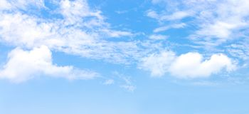Free Panorama Or Panoramic Photo Of Blue Sky And White Clouds Or Cloudscape. Royalty Free Stock Photography - 163953557