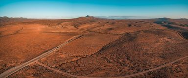 Panorama of orange unreal alien landscape. Aerial panorama of orange unreal alien landscape. Flinders Ranges, South Australia royalty free stock photos