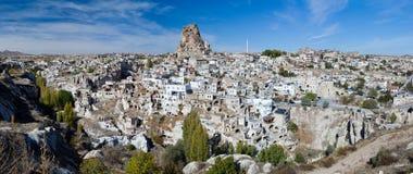 Panorama of Ortahisar Castle in Cappadocia Royalty Free Stock Photos