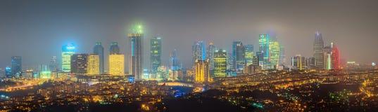 Panorama os Istanboel en Bosporus bij nacht Stock Afbeeldingen
