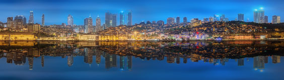 Panorama os Istanbul and Bosporus at night Royalty Free Stock Photography