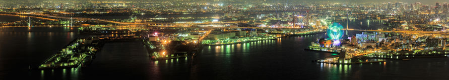 Panorama of Osaka bay at dusk,night scene in Osaka. Japan Royalty Free Stock Photos