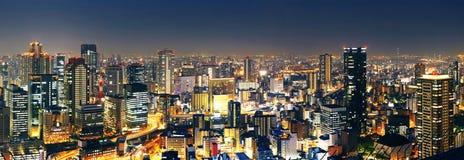 Panorama- Osaka på natten Fotografering för Bildbyråer