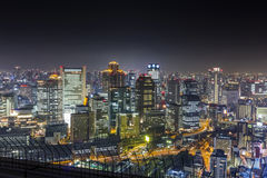 Panorama of Osaka skyline at night Stock Photos