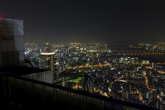 Panorama of Osaka skyline at night Royalty Free Stock Image