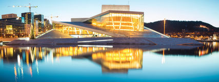 Panorama of Oslo Opera Norway stock photography