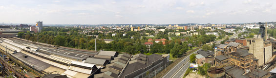Panorama of Ostrava city and nearby steelworks Royalty Free Stock Photography