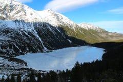 Panorama otaczająca górami zamarznięty jezioro Zdjęcia Stock