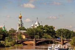 Panorama oude Vologda stock afbeeldingen