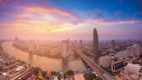 Panorama over Bangkok city river curved Stock Photos
