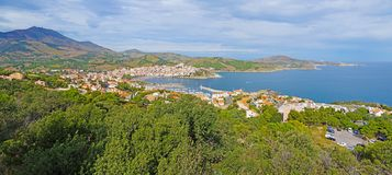 Panorama over Banyuls sur Mer Stock Images