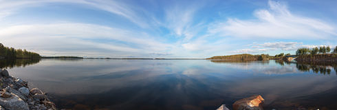 Panorama over a Blue Lake and Sky Royalty Free Stock Photos
