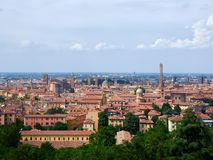 Panorama over Bologna, Italië stock foto's