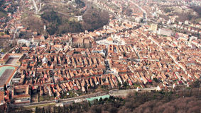 Panorama over Brașov Romania. Brașov is a city in the Transylvania region of Romania, ringed by the Carpathian Mountains. It's known for its medieval Saxon Royalty Free Stock Image