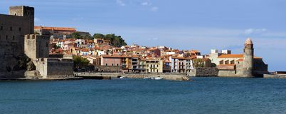 Panorama over Collioure in the Vermilion coast Stock Image