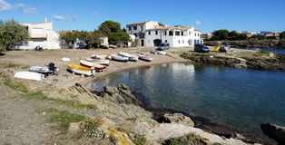 Panorama over a cove in Cadaques Stock Photography