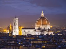Panorama over de stad van Florence van Michelangelo Square geroepen Piazzale Michelangelo royalty-vrije stock foto's