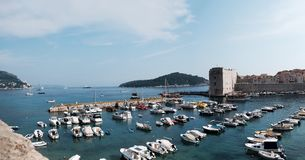 Panorama over Dubrovnik-Haven royalty-vrije stock foto's