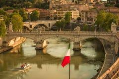 Panorama over het historische centrum van Rome, Italië van Castel Sant Angelo Royalty-vrije Stock Foto