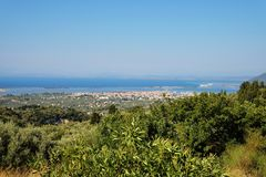 Lefkada Town. Panorama over the Lefkada Town, Lefkada is the capital city of the island and an unit of municipality Lefkada. It is the most important town of the Stock Image