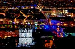Panorama over Lyon bij nacht Stock Afbeelding