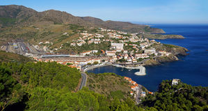 Panorama over Mediterranean coast in France. Panorama over Mediterranean coast in south of France with the picturesque village of Cerbere, Vermilion coast Royalty Free Stock Images
