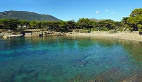 Panorama over Mediterranean cove with clear waters Royalty Free Stock Photos