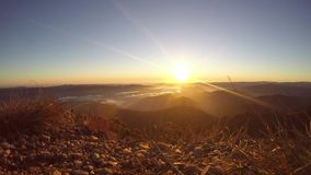 Panorama over the misty valley stock video footage