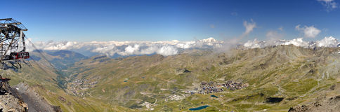 Panorama over Mont Blanc and Val Thorens. Panorama from Caron over Mont Blanc and Val Thorens stock image