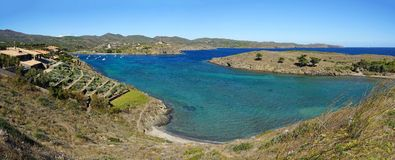 Panorama over PortLligat bay and its island Royalty Free Stock Photography