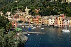 Panorama over Portofino, Ligurië, Italië Royalty-vrije Stock Foto's