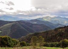 Panorama over the Pyrenees mountain range of the Pais Basco, Spain, on El Camino del Norte stock photo