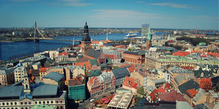 Panorama over Riga from St. Peter's Church - toned effect. Latvian republic, Europe. Stock Photography