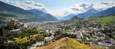 Panaroma of the city of Sion Valais Switzerland royalty free stock photos