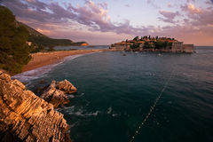Panorama over Sveti stefan beach and building Stock Photos