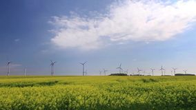 Panorama over Wind turbines and Rape Fields Stock Photography