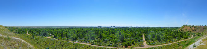 Panorama overlooking the cemetery Royalty Free Stock Photography