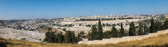 Panorama overlooking the Old City of Jerusalem, Israel, includin Stock Photography
