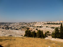 Panorama overlooking the Old City of Jerusalem, Israel, includin Stock Photos
