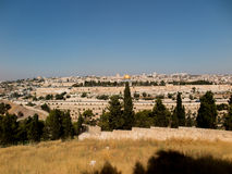 Panorama overlooking the Old City of Jerusalem, Israel, includin Royalty Free Stock Photo