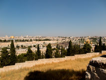 Panorama overlooking the Old City of Jerusalem, Israel, includin Royalty Free Stock Photos