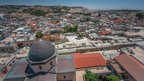 Panorama overlooking the Old city of Jerusalem timelapse, Israel, including the Dome of the Rock stock video