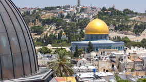 Panorama overlooking the Old city of Jerusalem timelapse, Israel, including the Dome of the Rock stock video footage