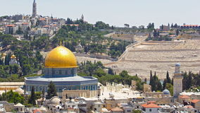 Panorama overlooking the Old city of Jerusalem timelapse, Israel, including the Dome of the Rock stock footage