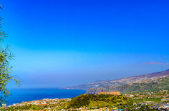 A panorama overlooking Puerto de la Cruz to Santa Ursula Royalty Free Stock Photo