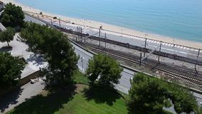 Panorama railway and sea. Panorama overlooking the road along the sea, Sea view stock video footage