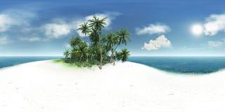Panorama 360, overzees, tropisch eiland, palmen, zon royalty-vrije stock foto