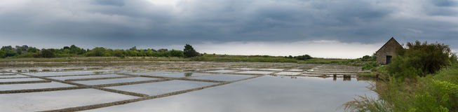 Panorama på de salta träsken av Brittany Arkivbilder