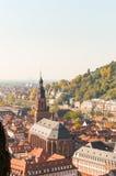 Panorama på den gamla staden Heidelberg, Geramny Arkivfoton